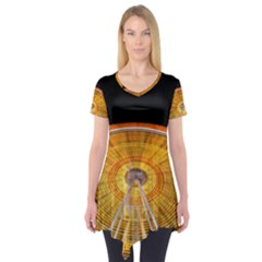 Abstract Blur Bright Circular Short Sleeve Tunic