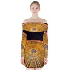 Abstract Blur Bright Circular Long Sleeve Off Shoulder Dress