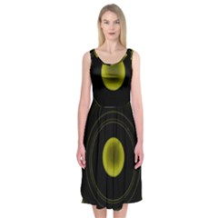 Abstract Futuristic Lights Dream Midi Sleeveless Dress