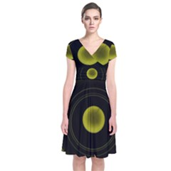 Abstract Futuristic Lights Dream Short Sleeve Front Wrap Dress