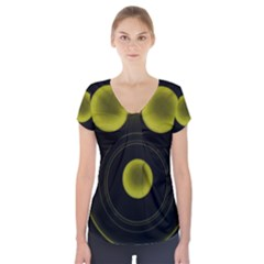 Abstract Futuristic Lights Dream Short Sleeve Front Detail Top