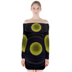Abstract Futuristic Lights Dream Long Sleeve Off Shoulder Dress