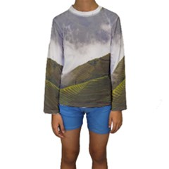 Agriculture Clouds Cropland Kids  Long Sleeve Swimwear