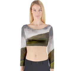 Agriculture Clouds Cropland Long Sleeve Crop Top