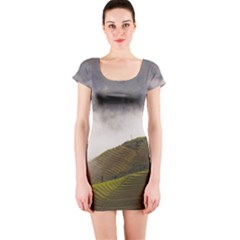 Agriculture Clouds Cropland Short Sleeve Bodycon Dress
