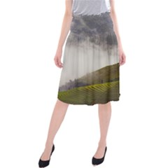 Agriculture Clouds Cropland Midi Beach Skirt
