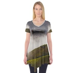 Agriculture Clouds Cropland Short Sleeve Tunic