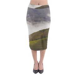 Agriculture Clouds Cropland Midi Pencil Skirt