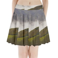 Agriculture Clouds Cropland Pleated Mini Skirt