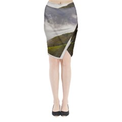 Agriculture Clouds Cropland Midi Wrap Pencil Skirt