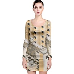Apartments Architecture Building Long Sleeve Bodycon Dress