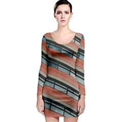 Architecture Building Glass Pattern Long Sleeve Bodycon Dress