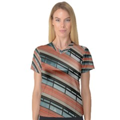 Architecture Building Glass Pattern Women s V Neck Sport Mesh Tee