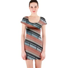 Architecture Building Glass Pattern Short Sleeve Bodycon Dress