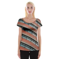 Architecture Building Glass Pattern Women s Cap Sleeve Top