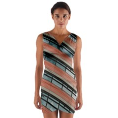 Architecture Building Glass Pattern Wrap Front Bodycon Dress