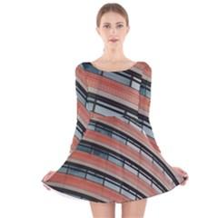 Architecture Building Glass Pattern Long Sleeve Velvet Skater Dress