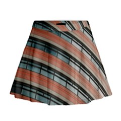 Architecture Building Glass Pattern Mini Flare Skirt