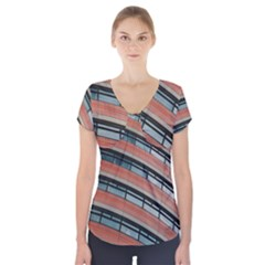 Architecture Building Glass Pattern Short Sleeve Front Detail Top