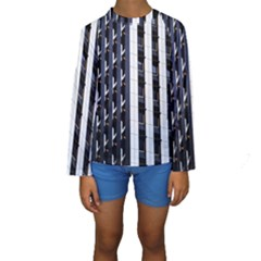 Architecture Building Pattern Kids  Long Sleeve Swimwear