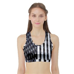 Architecture Building Pattern Sports Bra With Border