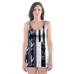 Architecture Building Pattern Skater Dress Swimsuit