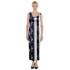 Architecture Building Pattern Fitted Maxi Dress