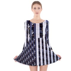 Architecture Building Pattern Long Sleeve Velvet Skater Dress
