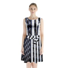 Architecture Building Pattern Sleeveless Chiffon Waist Tie Dress