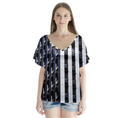 Architecture Building Pattern Flutter Sleeve Top