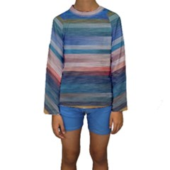 Background Horizontal Lines Kids  Long Sleeve Swimwear