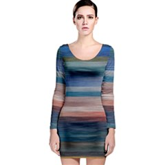 Background Horizontal Lines Long Sleeve Bodycon Dress