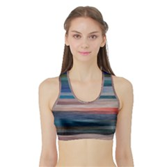 Background Horizontal Lines Sports Bra With Border