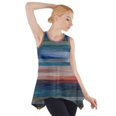 Background Horizontal Lines Side Drop Tank Tunic