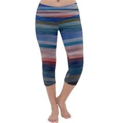 Background Horizontal Lines Capri Yoga Leggings