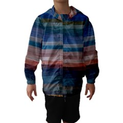 Background Horizontal Lines Hooded Wind Breaker (kids)