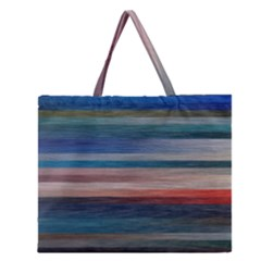 Background Horizontal Lines Zipper Large Tote Bag