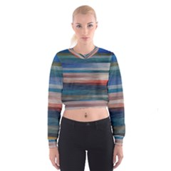 Background Horizontal Lines Women s Cropped Sweatshirt