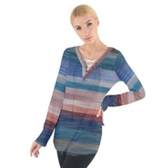 Background Horizontal Lines Women s Tie Up Tee