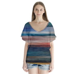Background Horizontal Lines Flutter Sleeve Top