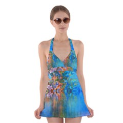Background Texture Structure Halter Swimsuit Dress