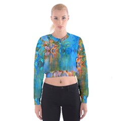 Background Texture Structure Women s Cropped Sweatshirt