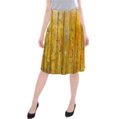 Background Wood Lath Board Fence Midi Beach Skirt
