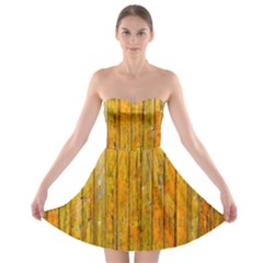 Background Wood Lath Board Fence Strapless Bra Top Dress