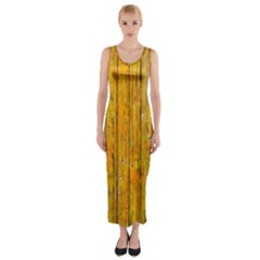 Background Wood Lath Board Fence Fitted Maxi Dress