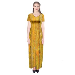 Background Wood Lath Board Fence Short Sleeve Maxi Dress