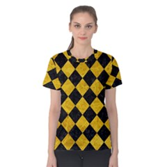 Square2 Black Marble & Yellow Marble Women s Cotton Tee