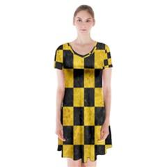 SQR1 BK-YL MARBLE Short Sleeve V-neck Flare Dress