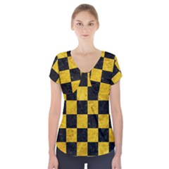Square1 Black Marble & Yellow Marble Short Sleeve Front Detail Top