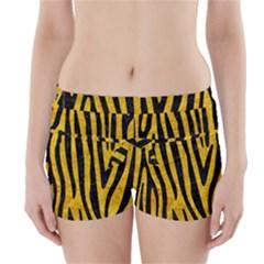 SKN4 BK-YL MARBLE Boyleg Bikini Wrap Bottoms